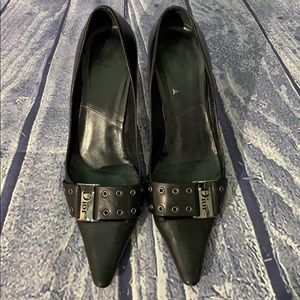 07ca175cc Dior · Dior Black Leather Belt Buckle Point Kitten Heel
